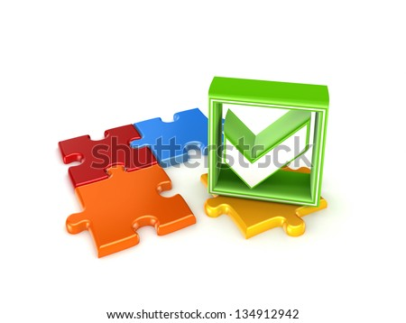 Colorful puzzles and green tick mark.Isolated on white background. - stock photo