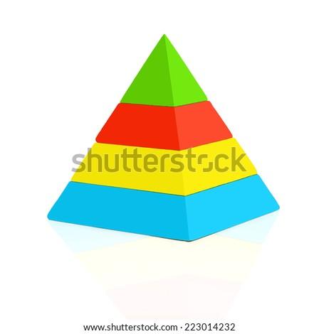 colorful pyramid four Levels, empty pages for your text - stock photo