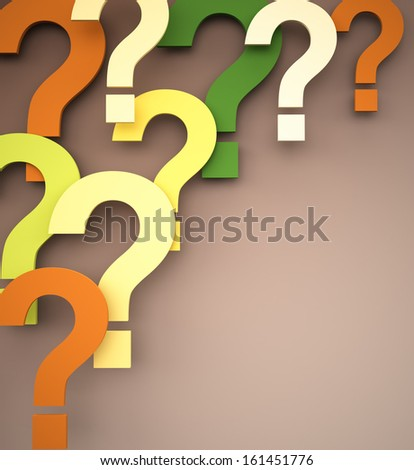 Colorful Question Marks , copy space  - stock photo