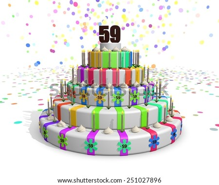 Colorful rainbow cake. Confetti falling down. Decorated with flower candies, candles and cream. On top a chocolate number 59. Ideal for invitations for someones birthday or anniversary - stock photo