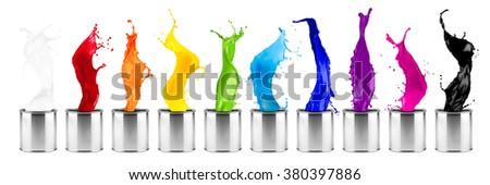 colorful rainbow color dose splash row isolated on white background - stock photo