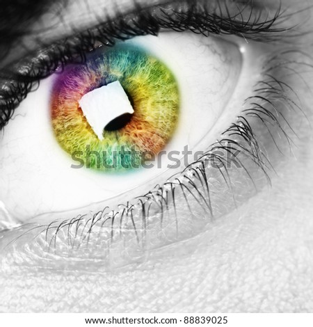 colorful rainbow eye, black and white photo - stock photo