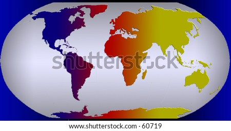 Colorful Rainbow Map of the world - stock photo