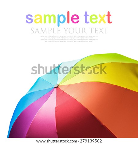 Colorful rainbow umbrella isolated on white background. Focus in the center of the umbrella - stock photo
