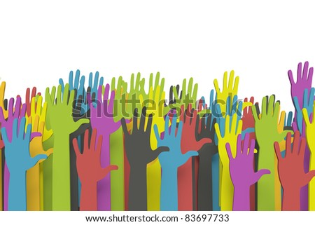 Colorful raised hands with clipping path - stock photo