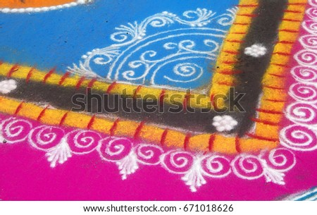 Colorful  Rangoli.Texture of artwork or Pattern during festivals,events,occasions and celebrations in India.