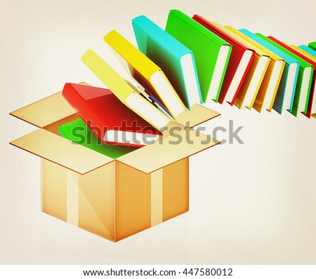 colorful real books in cardboard box on a white background. 3D illustration. Vintage style. - stock photo