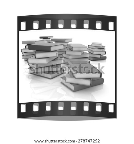 colorful real books on a white background. The film strip - stock photo