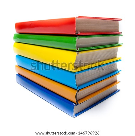 Colorful real books on white background