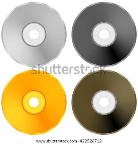 Colorful Realistic Compact Disc Collection Isolated on White Background - stock photo