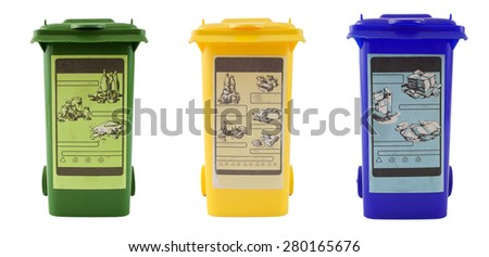 Colorful recycle bins isolated on white - stock photo