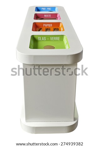 colorful recycle bins isolated with clipping path - stock photo