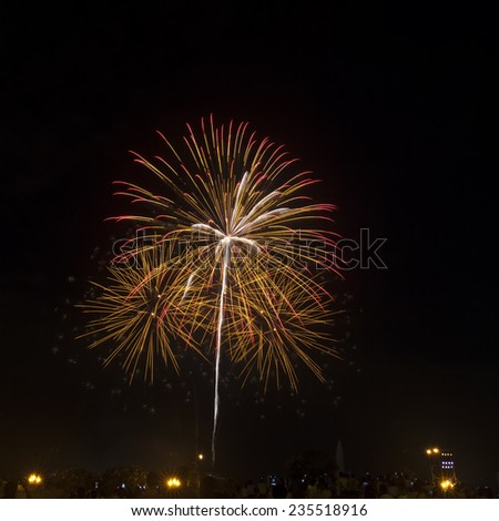 Colorful red amazing fireworks in dark sky  background