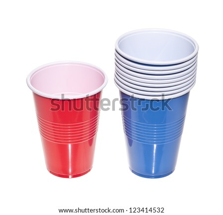 Colorful red and blue plastic cups in a white background