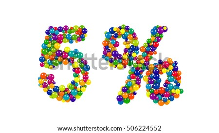 Colorful red, orange, yellow, blue and green spheres in the shape of six percent over isolated white background
