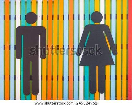 colorful restroom or toilet sign - stock photo