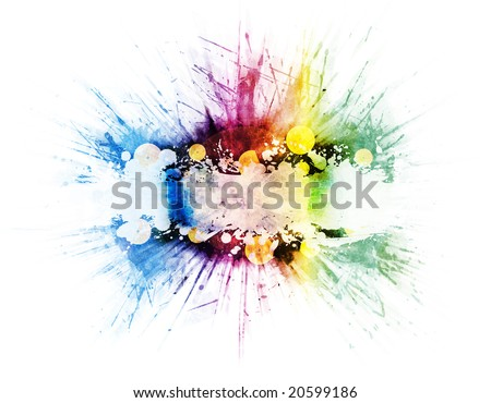 Colorful retro rainbow splatter design with beautiful color variations, detailed splatters and zoomed explosion blur effect. Vinyl records in the middle with frame for custom elements.