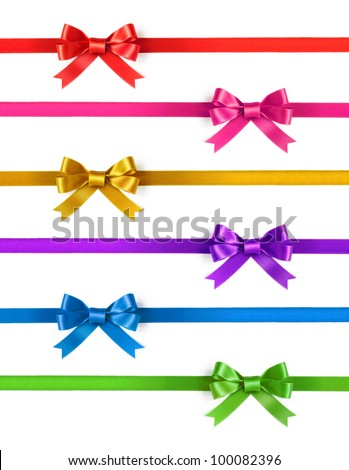 Colorful ribbons with bows on a white background - stock photo