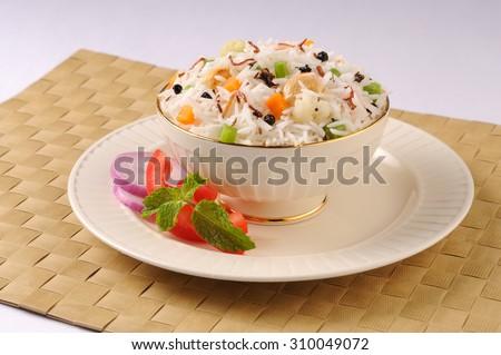 Colorful rice and vegetable ,Shai Pilau or Vegetable Pilau or Indian Biryani - stock photo