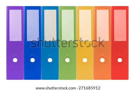 colorful ring binders-full with office document and business information on a white background - stock photo