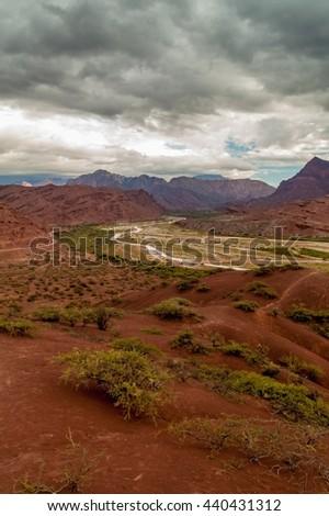 Colorful rock formations in Quebrada de Cafayate, Argentina - stock photo