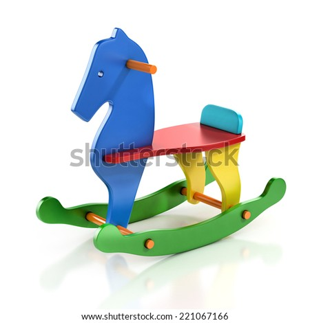 colorful rocking horse chair 3d illustration  - stock photo