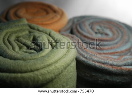 Colorful Rolled Fleece - stock photo