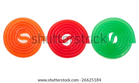 colorful rolls of candy, isolated on a white background