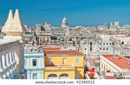 colorful roofs of buildings and the Capitol in Old Havana - stock photo