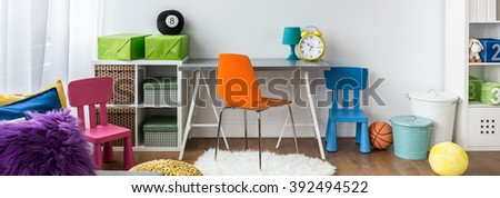 Colorful room for child in school age, panorama