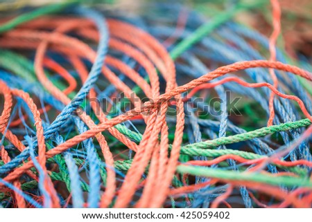 Colorful rope pile