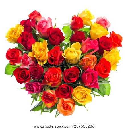 Colorful roses bouquet in heart shape on white background. Holidays arrangement. Happy Women's Day! - stock photo