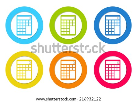 Colorful rounded icons with a calculator symbol in blue, green, yellow, orange and red colors - stock photo