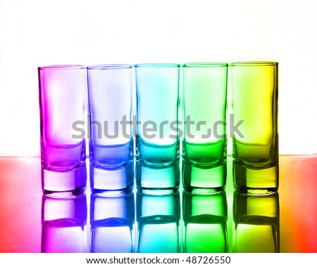 Colorful row of glasses for vodka