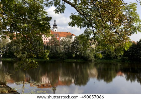 Colorful royal medieval Town Pisek above the river Otava, Czech Republic