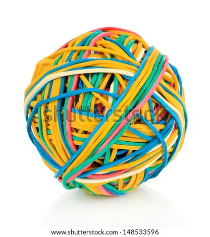 Colorful rubber bands isolated on white - stock photo