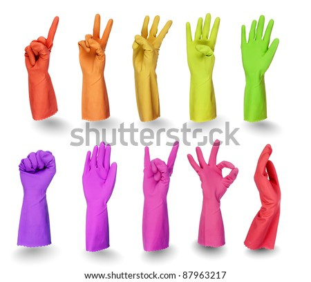 colorful rubber gloves signs isolated on white background with clipping path
