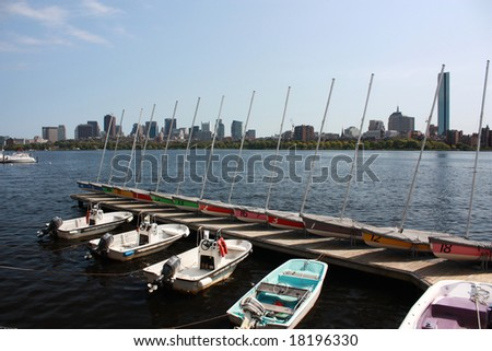 Colorful Sail boats on the Charles River Boston