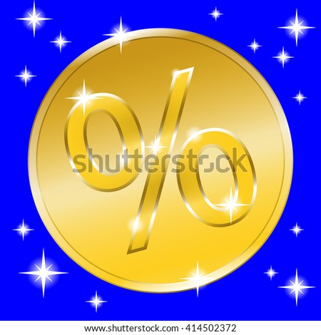 Colorful sale banner with golden effect. Gold coin icon for special offer. Label advertising message. Percent sign print. Discount label with stars on blue background. Design retro template.  - stock photo