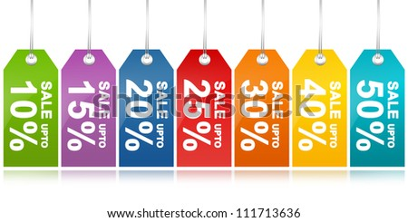 Colorful Sale Discount Price Tag From 10 - 50 Percent Discount Isolated on White Background - stock photo