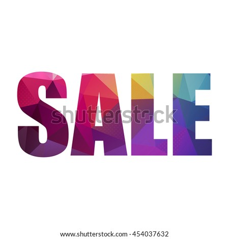Colorful sale sign with white background