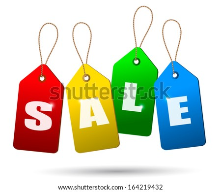 Colorful sale tags. Concept of discount shopping. Raster version - stock photo