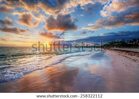 Colorful sandy beach at sunset - stock photo