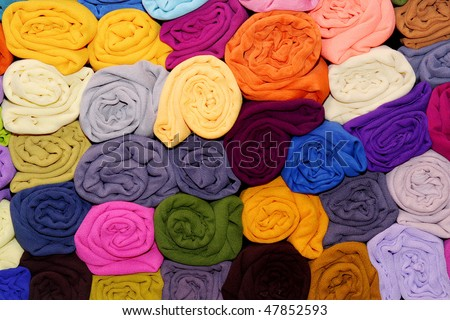 Colorful satin fabrics