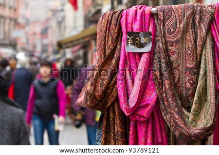 Colorful scarves for sale by a street vendor - stock photo