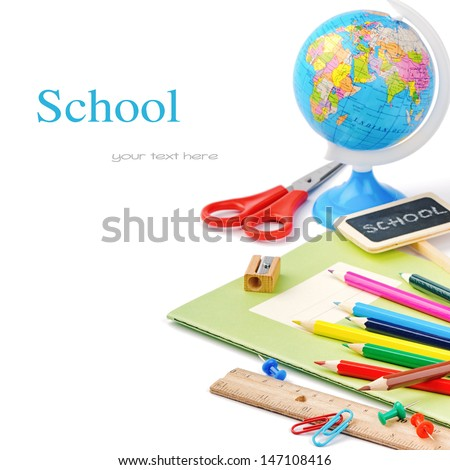 Colorful school supplies isolated over white - stock photo