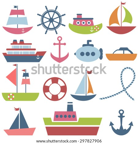 Colorful sea transport set. Raster version - stock photo