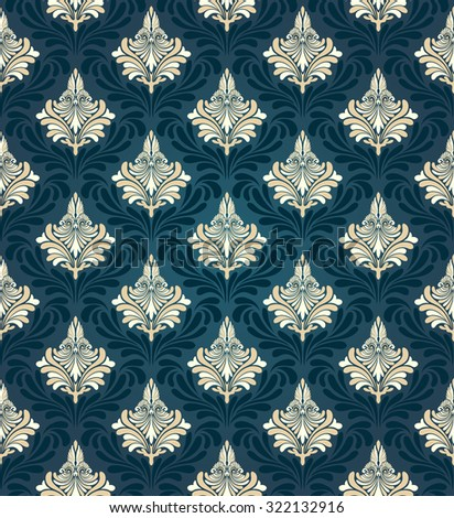 Colorful  seamless damask ornate  pattern - stock photo