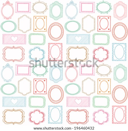 Colorful seamless doodle frame set  - stock photo