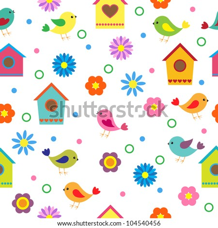 Colorful seamless pattern with birds and birdhouses. Raster version - stock photo